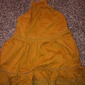 beautiful mustard halter top from charlotte russe